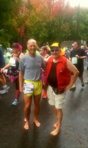 Barefoot Todd and Barefoot Jon during Portland Marathon 2016 October 9 Sunday